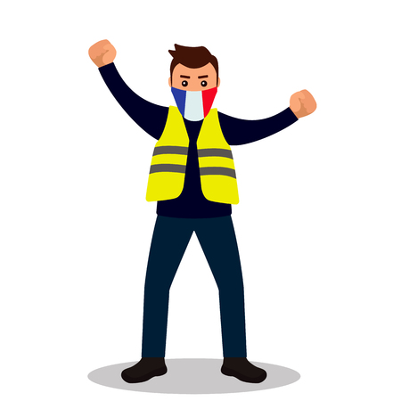 Young male protester in a yellow vest. Flat design. Demonstration of yellow vests against the new increase in taxes imposed by the French government. vector illustration isolated on white background - Vector illustration