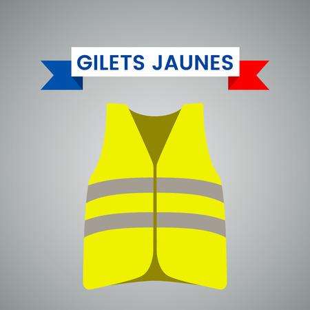 Chalecos amarillos (Gilets Jaunes): un símbolo de una huelga en Francia contra los impuestos sobre el combustible. Ilustración de vector plano aislado sobre fondo claro. - ilustración vectorial
