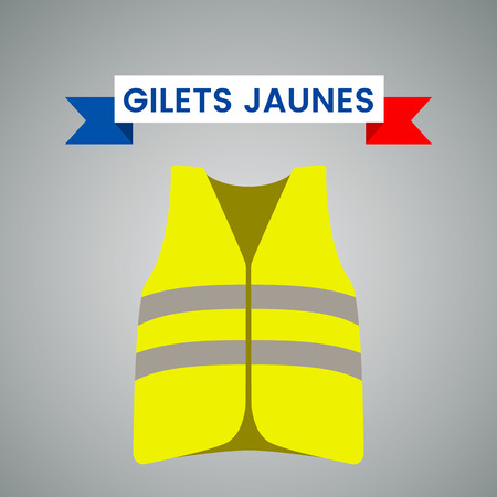 Yellow vests (Gilets Jaunes) - a symbol of a strike in France against taxes on fuel. flat vector illustration isolated on light background. - Vector illustration Stok Fotoğraf - 114438964
