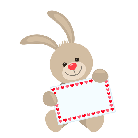 A funny character rabbit holds in his paws a card with a place for your text. The concept of Valentine's Day, wedding, Valentine's Day.