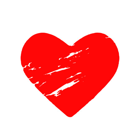 Shabby grunge red heart on a white background. flat vector illustration isolated on white background - Vector illustration