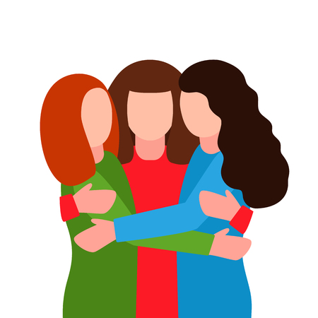 Young women hug at the meeting. The concept of sisterhood, feminism, female friendship, like-minded people. together - we are force. Illustration