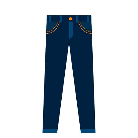 Icon blue jeans unisex. flat vector illustration isolated on white background Vetores
