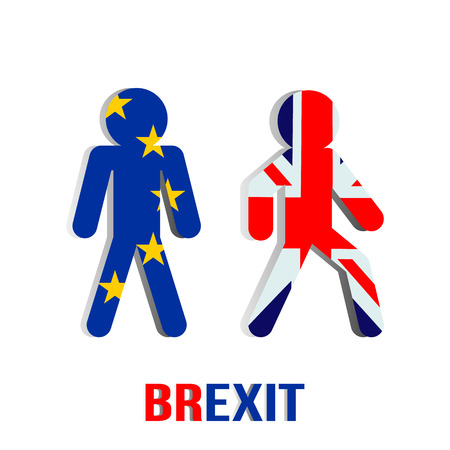 Theme Brexit. People Flags of the European Union and Britain do not want to be friends. flat vector illustration isolated on white background