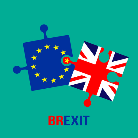 Theme Brexit. Flags puzzles of the European Union and Britain do not want to be combined. flat vector illustration isolated on blue background
