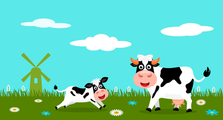 Cute cow and funny calves graze on green grass on the background of a rural summer landscape, farm and mills. Flat vector illustration