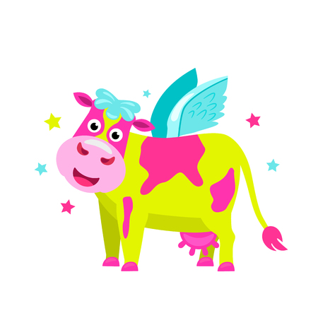 Bright lime pink cow with wings in the style of a unicorn. flat vector illustration isolated on white background