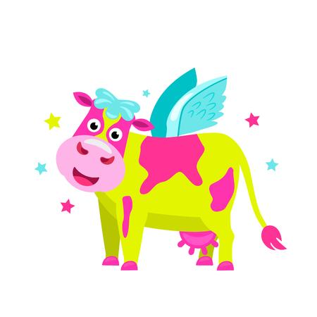 Vaca de color rosa lima brillante con alas al estilo de un unicornio. ilustración vectorial plana aislada sobre fondo blanco