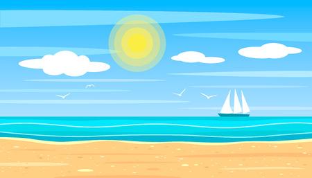 Paisaje brillante de una playa de arena en el fondo del océano en un día soleado. barco de vela en el horizonte con gaviotas. ilustración vectorial plana
