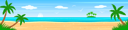 Summer landscape on the shore of a tropical island with palm trees, ocean, white sailboat. flat vector illustration