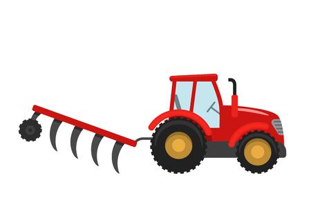 Tracteur rouge avec remorque. Illustration vectorielle dans un style plat isolé sur fond blanc. Machines agricoles lourdes pour le travail des champs Vecteurs