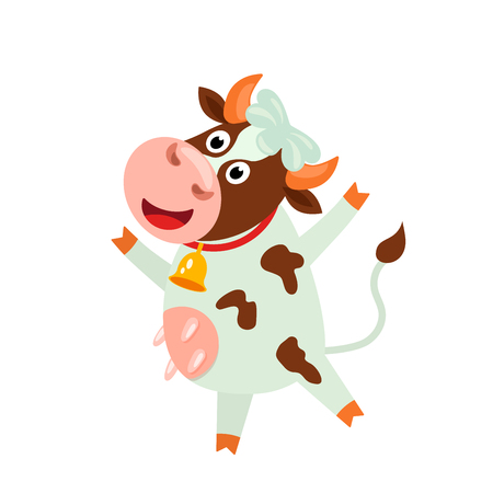 Cute cow with a funny face and a bell. funny character in cartoon style. flat vector illustration isolated on white backgroun