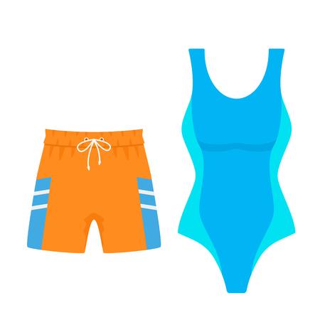 Set aus Damen-Badeanzug und Herren-Badehose zum Schwimmen. Vektor-Illustration isoliert auf weißem Hintergrund
