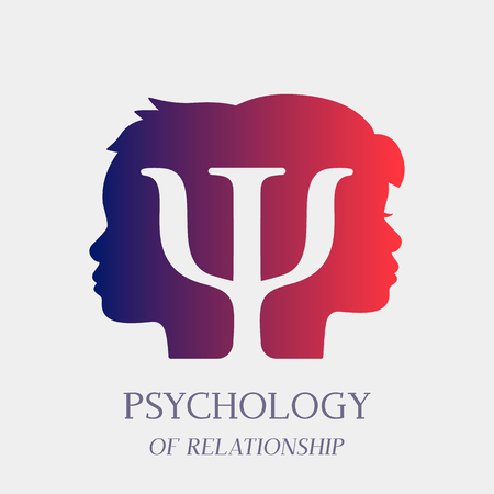 Counseling on psychotherapy and depression for disabled persons in a psychology room. Logo for the office of a psychotherapist and a psychologist. vector illustration