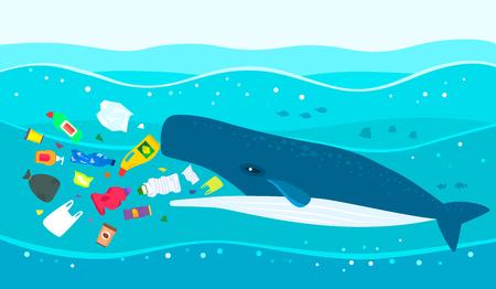 Desastre ecológico de basura plástica en el océano. Un gran cachalote come basura plástica contra un mar contaminado. ilustración vectorial plana