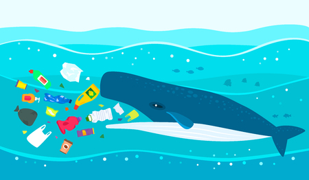 Ecological disaster of plastic garbage in the ocean. A large sperm whale eats plastic trash against a polluted sea. flat vector illustration
