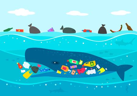 Ökologische Katastrophe von Plastikmüll im Ozean. Ein großer Pottwal frisst Plastikmüll gegen ein verschmutztes Meer. flache Vektorillustration