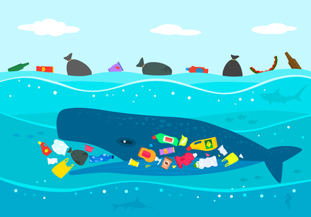 Ecological disaster of plastic garbage in the ocean. A large sperm whale eats plastic trash against a polluted sea. flat vector illustration Illustration