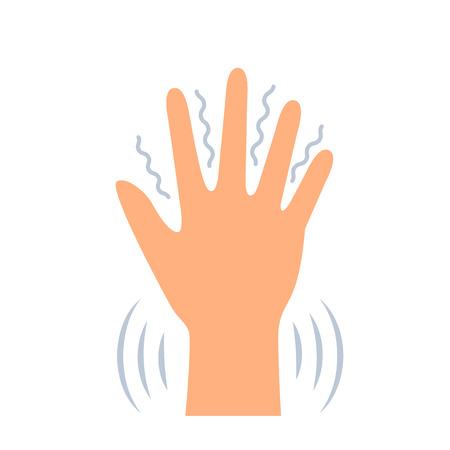 Brividi nelle mani dei sintomi di vari disturbi mentali, panico, paura, malattia di parkenson. illustrazione vettoriale piatta isolata su sfondo bianco
