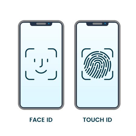 Face ID or Fingerprint Detector on Smartphone Touch Screen. vector illustration isolated on white background
