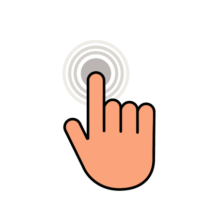Click here the button with the hand icon. Linear icon for web sites. flat vector illustration isolated on white background