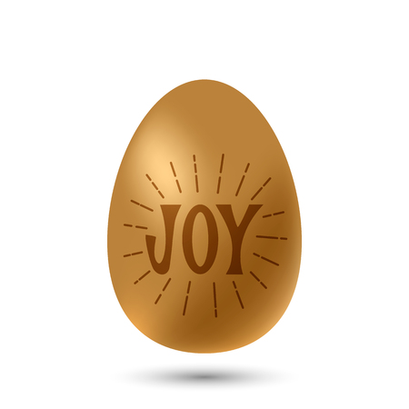 Golden realistic egg with the lettering hand lettering JOY and sunburst rays. vector illustration