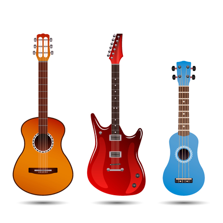 Set of different bright realistic guitars. Retro acoustic guitar, electric rock guitar and a little blue ukulele. flat vector illustration isolated on white background