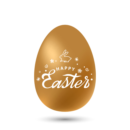 Easter golden egg with a handwritten inscription Happy Easter. Bright holiday card with retro inscription and Easter bunny. vector illustration isolated on white background Ilustração