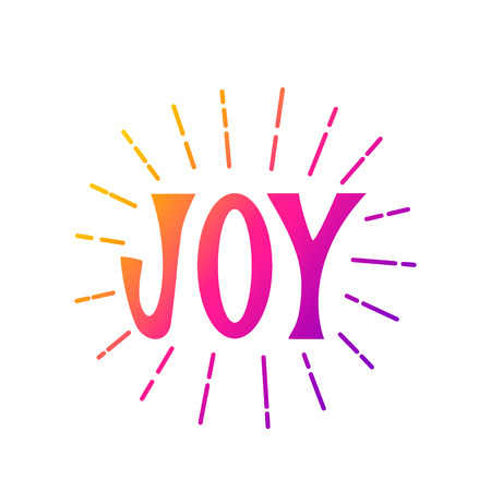 Hand lettering of the word JOY with sunburst rays. flat vector illustration isolated on white background for print.