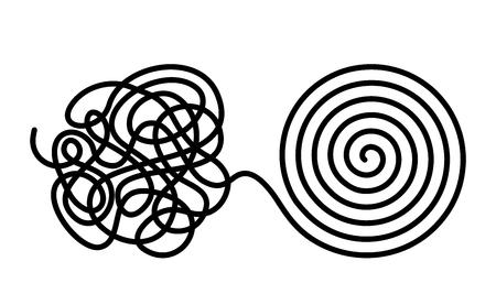 Chaos en wanorde verandert in een gevormde gelijkmatige kluwen met één lijn. Chaos en orde theorie. platte vectorillustratie geïsoleerd