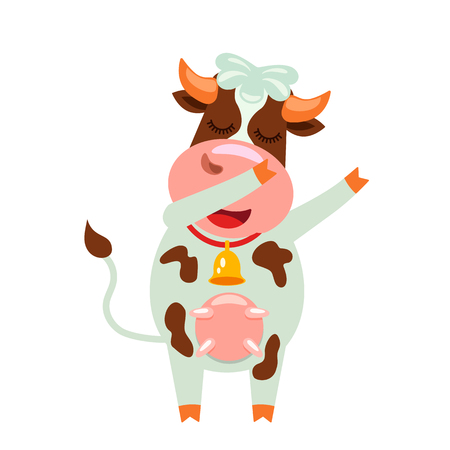 A cute cow with a funny face and a bell dances modern dance. funny character in cartoon style. flat vector illustration on white background
