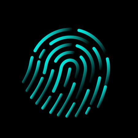 Shining shiny fingerprint identification passes. modern technology. vector illustration Ilustração