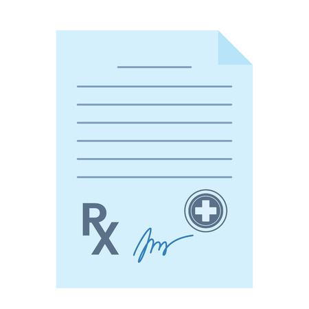 Blank paper doctors prescription. Icon in flat style isolated on white background. vector illustration Ilustração