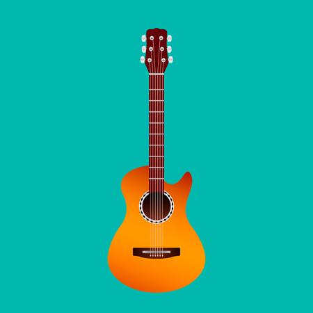 classic yellow acoustic guitar icon isolated on blue background. flat vector illustration Ilustração