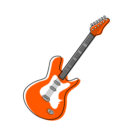 Orange electric guitar in cartoon style. flat vector illustration isolated Illustration