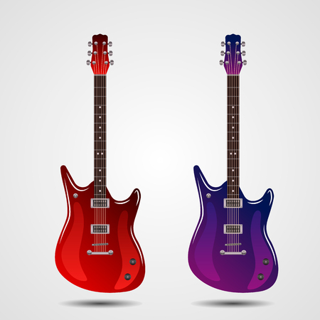 Bright realistic set of colored electric guitars. vector illustration isolated on white background Ilustração
