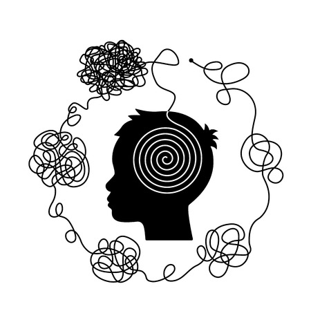 The concept of chaos and disorder of thoughts. The solution to the way out of difficult life situations and problems. flat vector illustration isolated