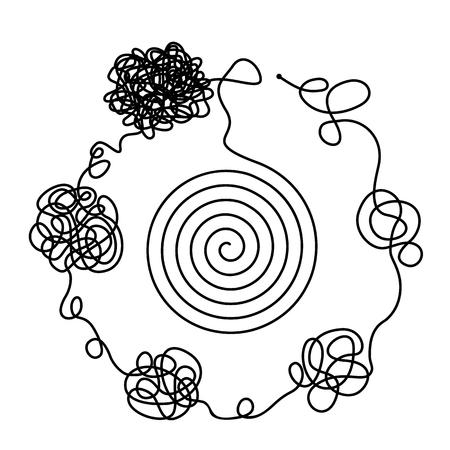 Le concept de chaos et de désordre des pensées. La solution pour sortir des situations et des problèmes de vie difficiles. illustration vectorielle plane isolée