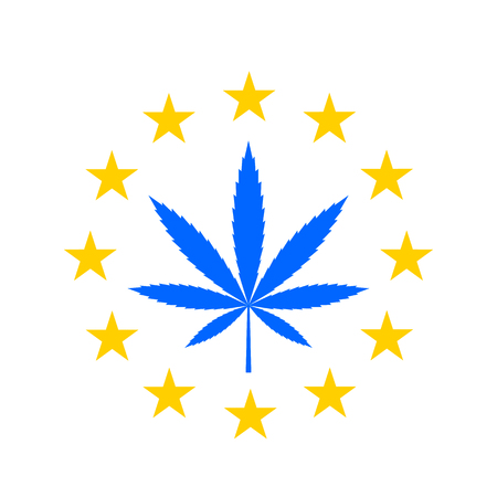 Marijuana leaf on the background of the EU flag. concept of cannabis legalization in the EU. flat vector illustration isolated on white background