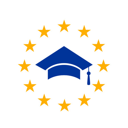 A graduate cap with a brush in the circle of the yellow stars of the European Union. concept of studying in Europe, abroad. flat vector illustration isolated on white background. icon.