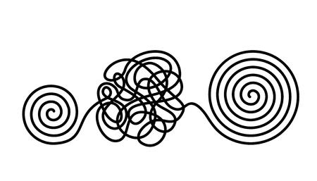 El concepto de caos y desorden de pensamientos. La solución para salir de situaciones y problemas difíciles de la vida. ilustración vectorial plana aislada Ilustración de vector