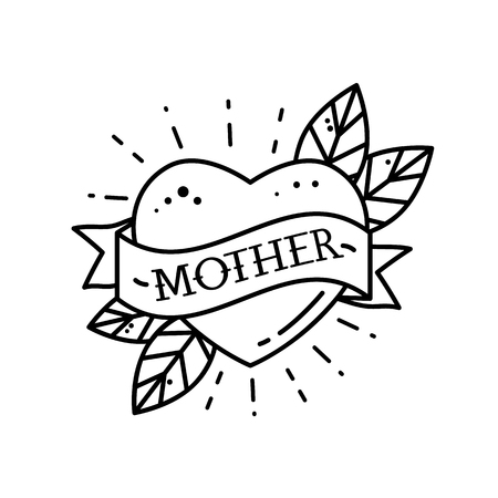 Heart with ribbon and inscription Mom. Greeting retro greeting card element for Mothers Day. vintage tattoo. flat vector illustration isolated on white background