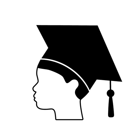 Graduate guy in square hat or hat with tassel. Flat vector illustration icon isolated on white background Ilustração