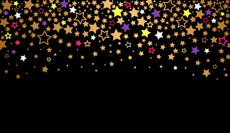 Abstract texture of the night sky with falling golden stars. vector illustration on black background