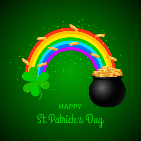 festive green banner or St. Patricks Day greeting card. Traditional symbols are a pot of gold coins, a rainbow and clover leaves. vector illustration