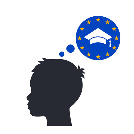 The man reflects on education in Europe. concept of studying abroad. flat vector illustration isolated on white background