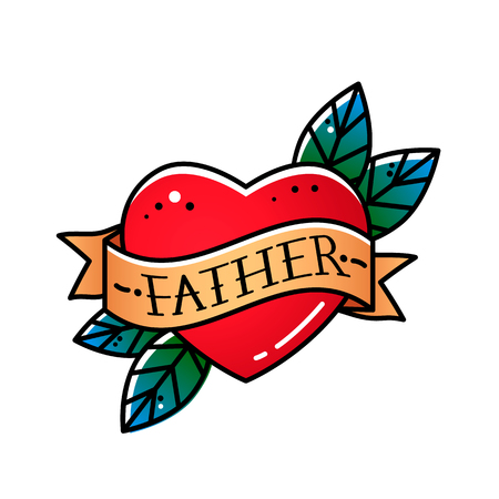 Heart with ribbon and inscription Father. Greeting retro postcard element for fathers day. vintage tattoo. flat vector illustration on white background Ilustração