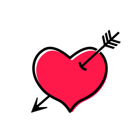 modern icon of a heart pierced by an arrow in a linear style. flat vector illustration isolated on white background