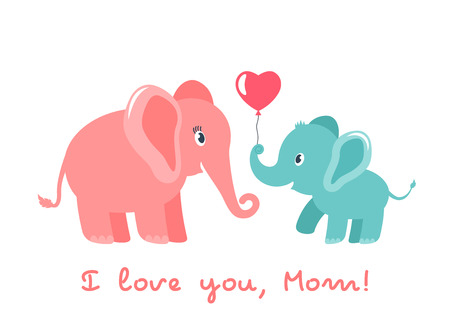 Cute funny baby elephant gives mother a heart. greeting card. Mothers Day holiday concept. flat vector illustration isolated on white background Illustration
