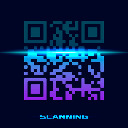 QR code of the sample to scan a smartphone. modern scan design. concept of technology and sales. vector